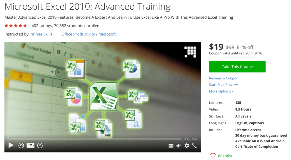 Microsoft Excel 2010 Advanced Training Online Course Coupons